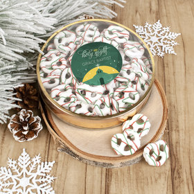 Personalized Christmas Holy Celebration Large Plastic Tin Holiday Yogurt Pretzels (approx 40pcs)