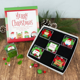 Personalized Christmas Winter Buddies Premium Gift Box with 5 JUST CANDY® favor cubes