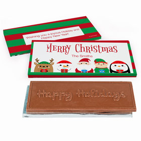 Deluxe Personalized Christmas Winter Buddies Embossed Happy Holidays Chocolate Bar in Gift Box