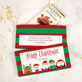 Deluxe Personalized Winter Buddies Christmas Godiva Chocolate Bar in Gift Box