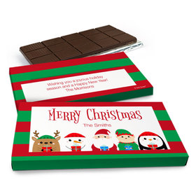 Deluxe Personalized Christmas Winter Buddies Chocolate Bar in Gift Box (3oz Bar)