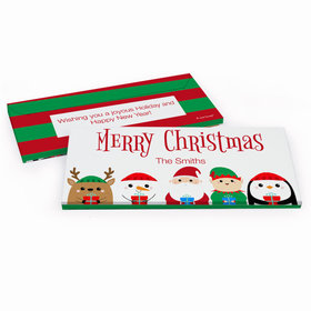 Deluxe Personalized Christmas Winter Buddies Chocolate Bar in Gift Box