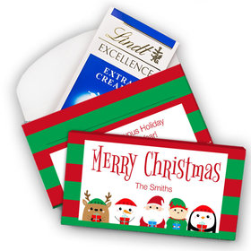 Deluxe Personalized Christmas Winter Buddies Lindt Chocolate Bar in Gift Box (3.5oz)