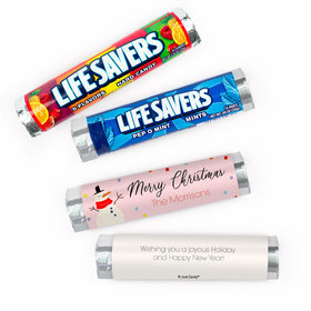 Personalized Christmas Blush Lifesavers Rolls (20 Rolls)