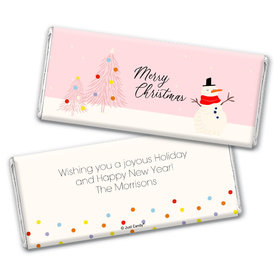 Personalized Christmas Blush Chocolate Bar Wrappers Only