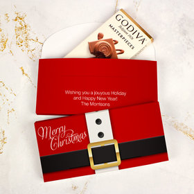 Deluxe Personalized St. Nick Christmas Godiva Chocolate Bar in Gift Box