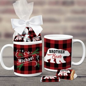 Personalized Plaid Brother Bear 11oz Coffee Mug with approx. 24 Wrapped Hershey's Miniatures