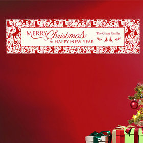 Personalized Christmas Iconic Christmas Add Your Logo 5 Ft. Banner