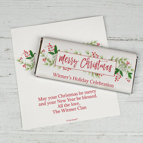 Personalized Christmas Chocolate Bar Wrappers Only - Christmas Botanicals