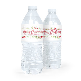 Personalized Christmas Botanical Water Bottle Labels (5 Labels)