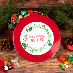 Personalized Christmas Gift Tin with Holiday Hershey Mix - Add Your Logo Simple Holiday Wreath