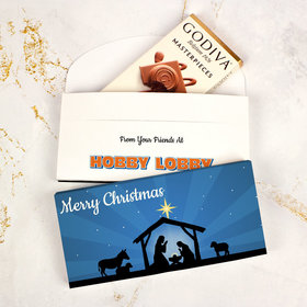 Deluxe Personalized O Holy Night Christmas Godiva Chocolate Bar in Gift Box