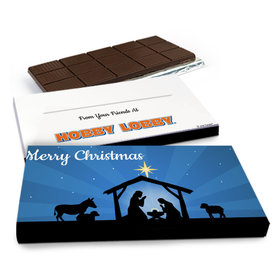 Deluxe Personalized Holy Night Nativity Christmas Chocolate Bar in Gift Box (3oz Bar)