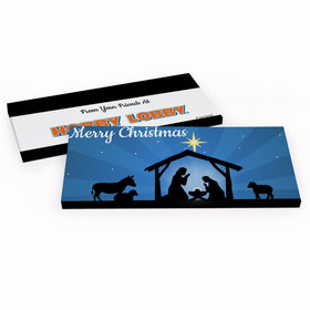 Deluxe Personalized Holy Night Nativity Christmas Chocolate Bar in Gift Box