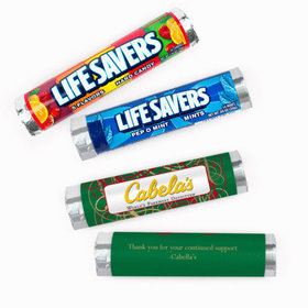 Personalized Christmas Swirls Add Your Logo Lifesavers Rolls (20 Rolls)
