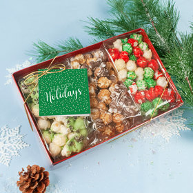 Personalized Happy Holidays Gourmet Popcorn 3pk Gift Box with Tag