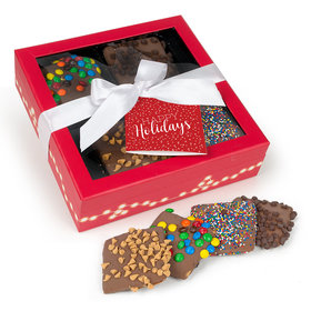 Personalized Happy Holidays Gourmet Belgian Chocolate Covered Graham Crackers Gift Box (12 pcs)