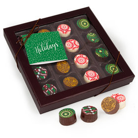 Personalized Happy Holidays Gourmet Belgian Chocolate Truffle Gift Box (16 Truffles)