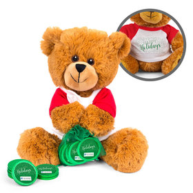 Personalized Merry Christmas Simply Holidays Teddy Bear with Chocolate Coins in XS Organza Bag