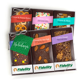 Personalized Happy Holidays Add Your Logo Gourmet Infused Chocolate Bars (6 pack)