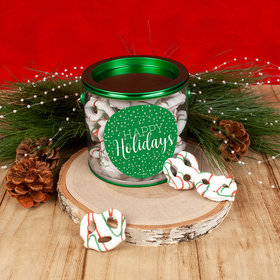 Personalized Happy Holidays Paint Can with Holiday Yogurt Pretzels