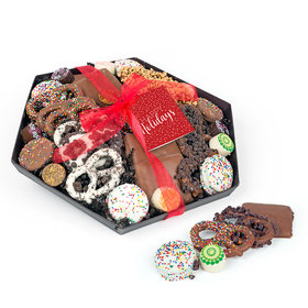 Personalized Happy Holidays Gourmet Belgian Chocolate Gift Tray (2lbs)