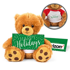 Personalized Simply Holidays Teddy Bear with Embossed Chocolate Bar in Deluxe Gift Box