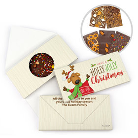 Personalized Holly Jolly Reindeer Christmas Gourmet Infused Belgian Chocolate Bars (3.5oz)
