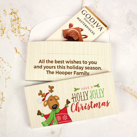 Deluxe Personalized Holly Jolly Reindeer Christmas Godiva Chocolate Bar in Gift Box