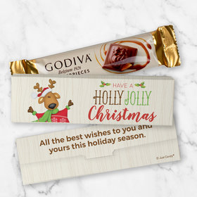 Personalized Christmas Godiva Mini Masterpiece Chocolate Bar in Gift Box - Holly Jolly Reindeer