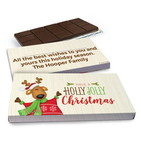 Deluxe Personalized Holly Jolly Reindeer Christmas Chocolate Bar in Gift Box (3oz Bar)