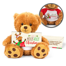 Personalized Jolly Reindeer Teddy Bear with Embossed Chocolate Bar in Deluxe Gift Box