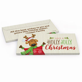 Deluxe Personalized Holly Jolly Reindeer Christmas Candy Bar Favor Box