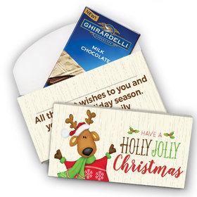 Deluxe Personalized Holly Jolly Reindeer Christmas Ghirardelli Chocolate Bar in Gift Box