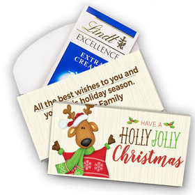 Deluxe Personalized Holly Jolly Reindeer Christmas Lindt Chocolate Bar in Gift Box (3.5oz)