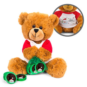 Personalized Merry Christmas Chalkboard Santa Teddy Bear with Chocolate Coins in XS Organza Bag