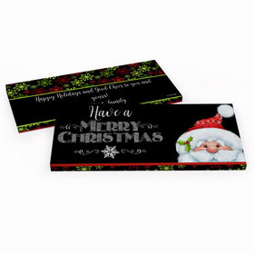 Deluxe Personalized Chalkboard Santa Christmas Chocolate Bar in Gift Box