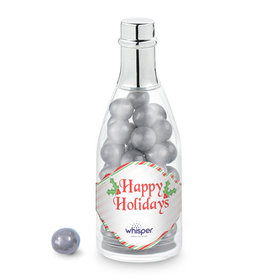 Personalized Christmas Stripes Add Your Logo Champagne Bottle with Sixlets Candies (25 Pack)