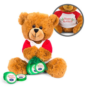Personalized Merry Christmas Stripes Teddy Bear with Chocolate Coins in XS Organza Bag