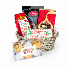 Personalized Happy Holidays Stripes Candy Gift Basket