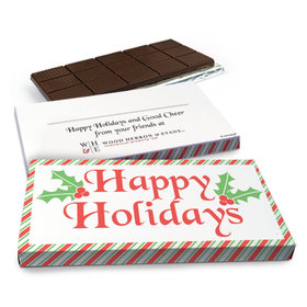 Deluxe Personalized Stripes Christmas Chocolate Bar in Gift Box (3oz Bar)