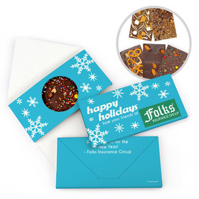 Personalized Holiday Snowflakes Add Your Logo Christmas Gourmet Infused Belgian Chocolate Bars (3.5oz)