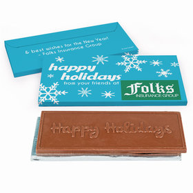 Deluxe Personalized Holiday Snowflakes Christmas Chocolate Bar in Gift Box
