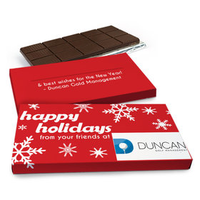 Deluxe Personalized Holiday Snowflakes Christmas Chocolate Bar in Gift Box (3oz Bar)