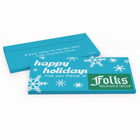 Deluxe Personalized Holiday Snowflakes Christmas Candy Bar Favor Box