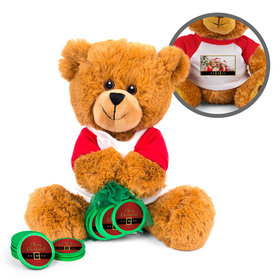 Personalized Merry Christmas Santa Buckle Teddy Bear with Chocolate Coins in XS Organza Bag