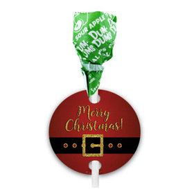 Personalized Santa Buckle Christmas Dum Dums with Gift Tag (75 pops)
