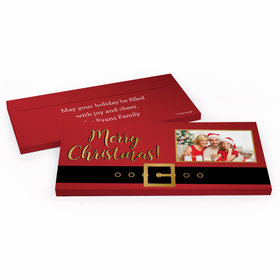 Deluxe Personalized Santa Belt Christmas Chocolate Bar in Metallic Gift Box