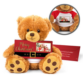 Personalized Santa Buckle Teddy Bear with Embossed Chocolate Bar in Deluxe Gift Box