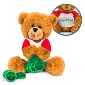 Personalized Merry Christmas Wishes Teddy Bear with Chocolate Coins in XS Organza Bag